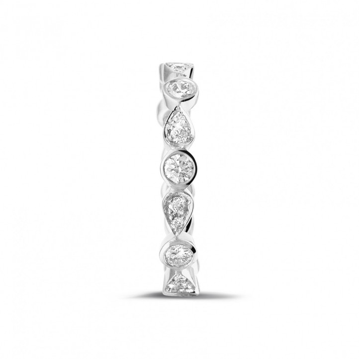 0.50 carat alliance superposable en or blanc avec diamants déco poire