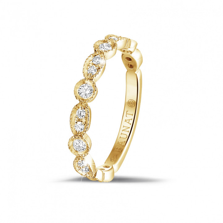 0.30 carat alliance superposable en or jaune avec diamants déco marquise