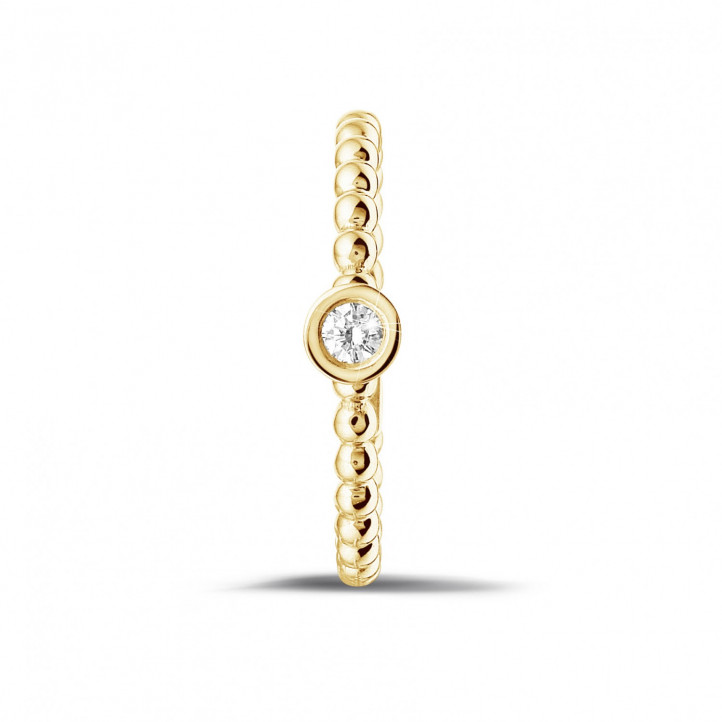 0.07 carat bague superposable perlée en or jaune avec diamant