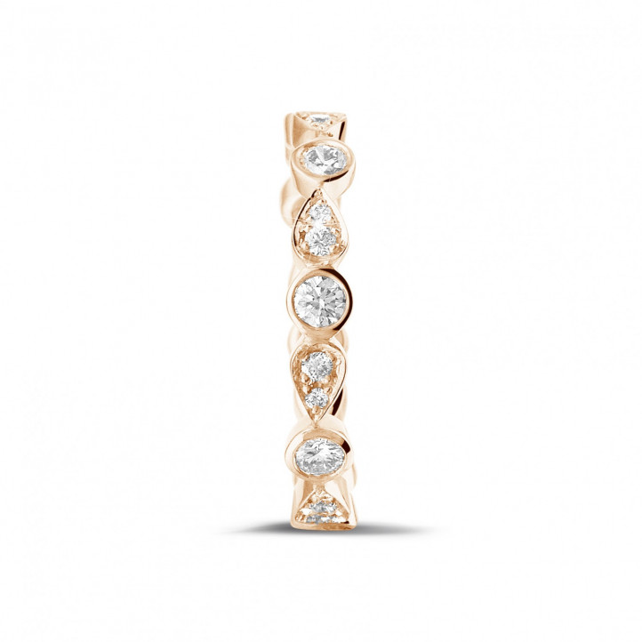 0.50 carat alliance superposable en or rouge avec diamants déco poire