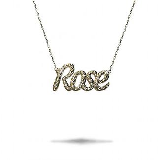 Colliers Or Jaune - Pendentif prénom personnalisé en or de 18Kt avec diamants ronds