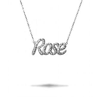 Colliers Or Blanc - Pendentif prénom personnalisé en or de 18Kt avec diamants ronds