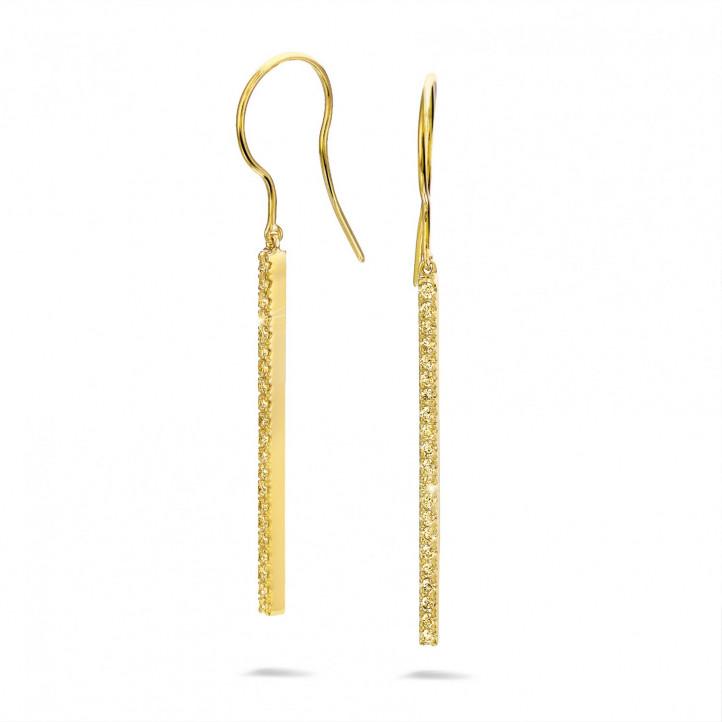0.35 carat boucles d'oreilles bâton en or jaune et diamants jaunes