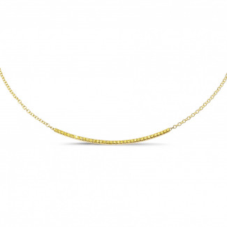 Colliers Or Jaune - 0.30 carat collier fin en or jaune et diamants jaunes
