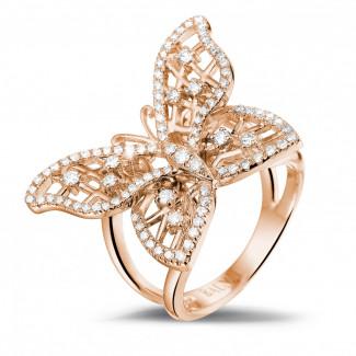 Or Rouge - 0.75 carat bague papillon design en or rouge et diamants