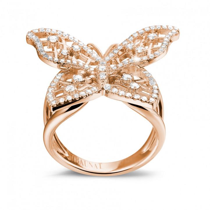 0.75 carat bague papillon design en or rouge et diamants