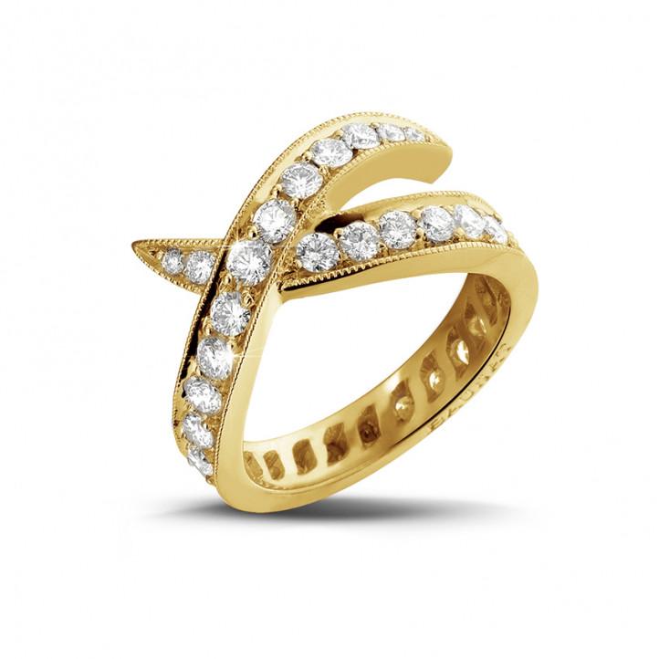 1.40 carat bague design en or jaune et diamants