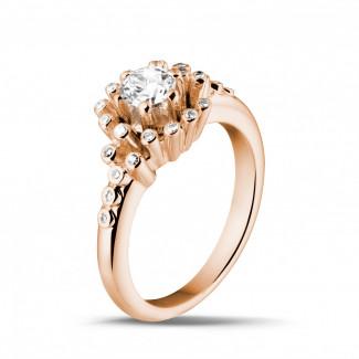 Bagues de Fiançailles Diamant Or Rouge - 0.50 carat bague design en or rouge et diamants