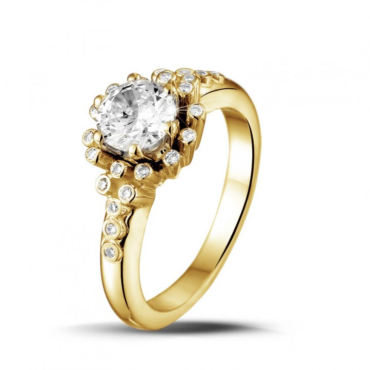 0.90 carat bague design en or jaune et diamants