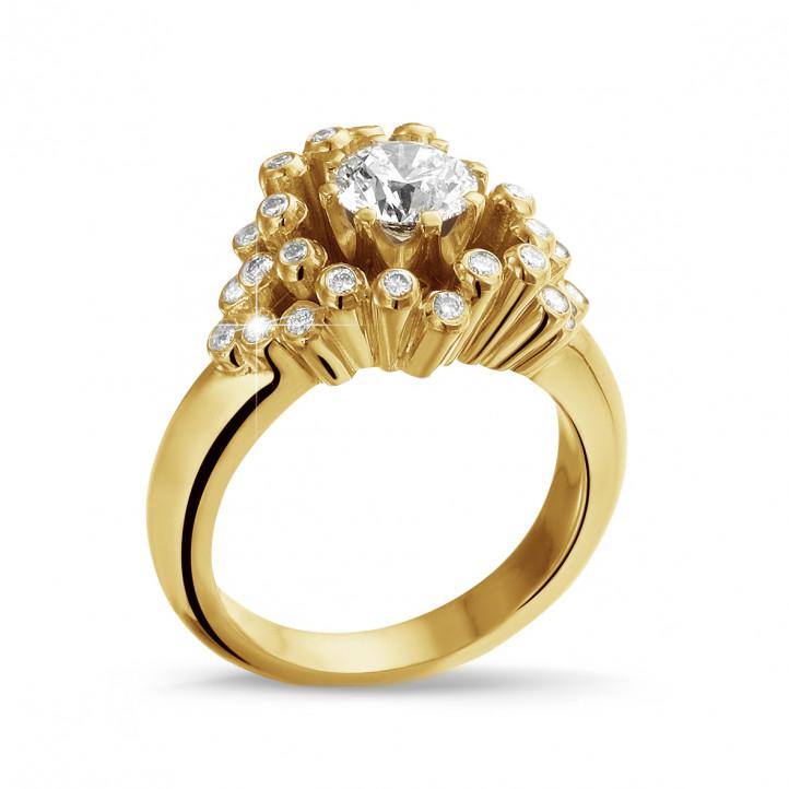 0.90 carat bague design en or jaune et diamants