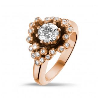 Bagues de Fiançailles Diamant Or Rouge - 0.90 carat bague design en or rouge et diamants