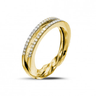 Or Jaune  - 0.26 carat bague design en or jaune et diamants