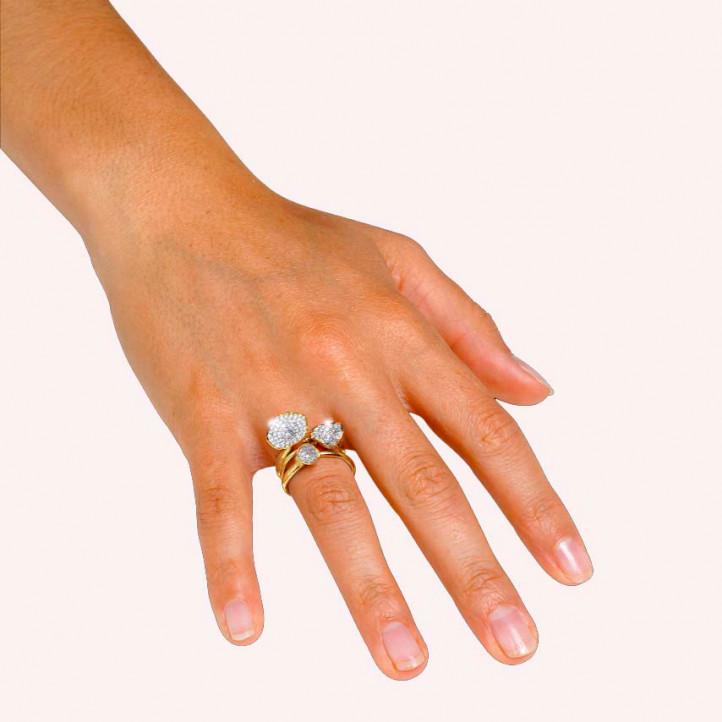 Ensemble bagues design en or jaune et diamants