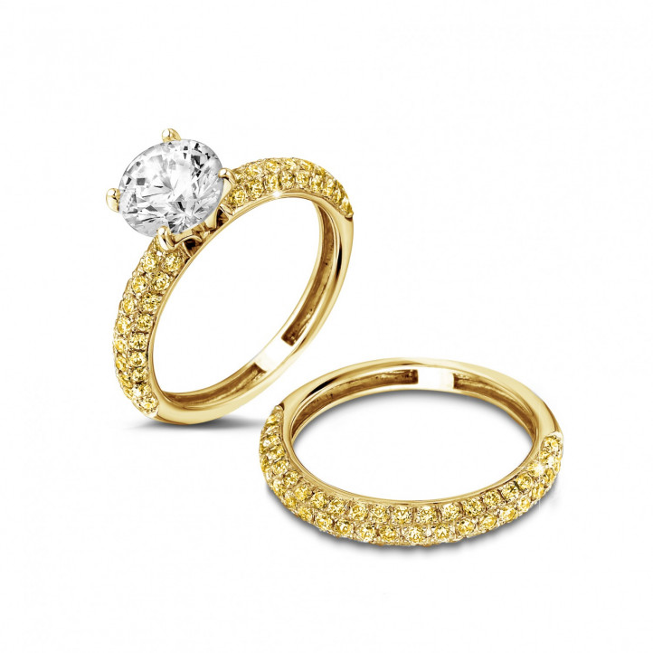 Ensemble 1.50 carats bague de fiançailles diamant et alliance en or jaune avec petits diamants jaunes