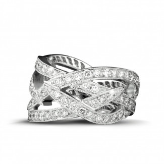 Alliance diamant en platine - 2.50 carat bague design en platine et diamants