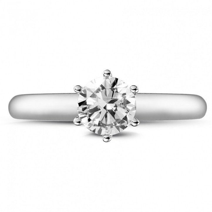 0.75 carat bague diamant solitaire en platine avec six griffes