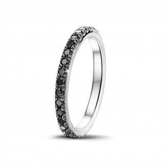 Bague de fiançaille homme - 0.55 carat alliance (tour complet) en or blanc avec diamants ronds noirs
