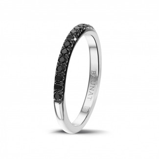 Alliance diamant en or blanc - 0.35 carat alliance (demi-tour) en or blanc avec diamants ronds noirs