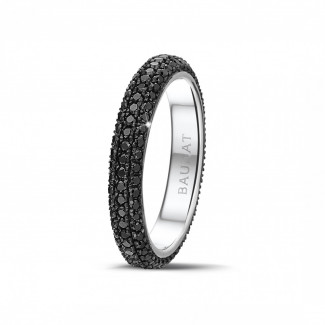 Alliance diamant en or blanc - 0.85 carat alliance (tour complet) en or blanc et diamants noirs