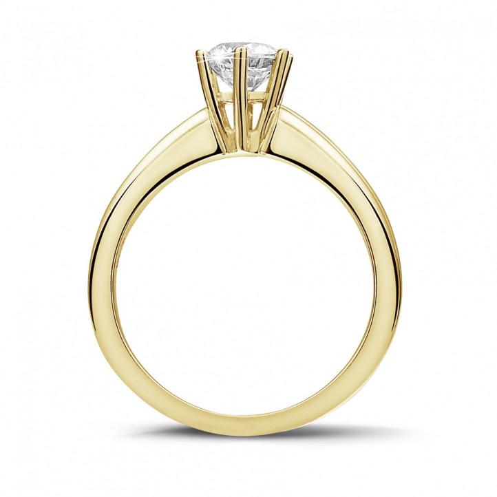 0.70 carat bague diamant solitaire en or jaune avec six griffes