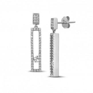 0.55 carat boucles d'oreilles en or blanc avec diamants ronds flottants