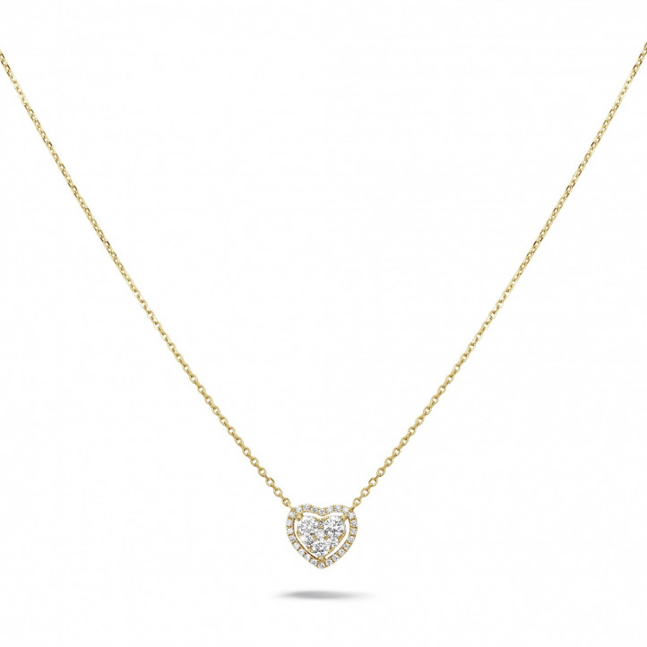 Diamants Forme Or Carat Coeur De Jaune 0 65 Ronds Collier Avec En 2H9WEYDI