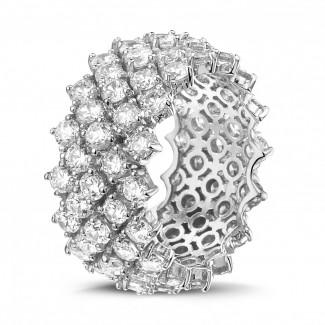 Bague design arête en or blanc avec diamants