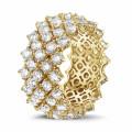 Bague design arête en or jaune avec diamants