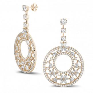 Or Rouge - 12.00 carats boucles d'oreilles en or rouge avec diamants de la taille ronde, marquise, poire et cœur