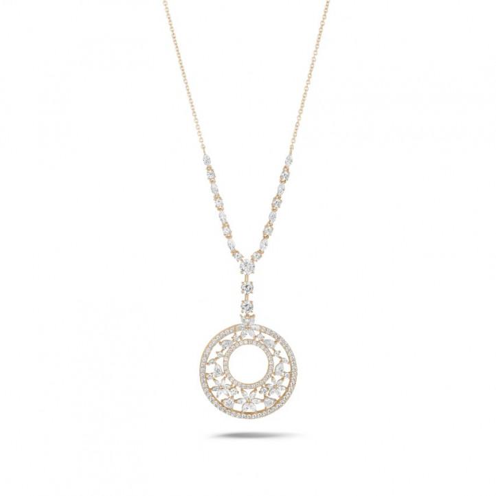 8.00 Ct collier en or rouge avec diamants de la taille ronde, marquise, poire et cœur
