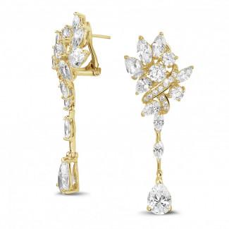 Boucles d'oreilles - 12.80 carats boucles d'oreilles en or jaune avec diamants de la taille ronde, marquise et poire