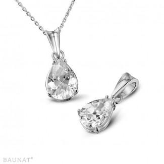 Joaillerie en or blanc avec diamants exclusives - 1.00 carat pendentif solitaire en or blanc avec diamant en forme de poire de qualité exceptionnelle (D-IF-EX)
