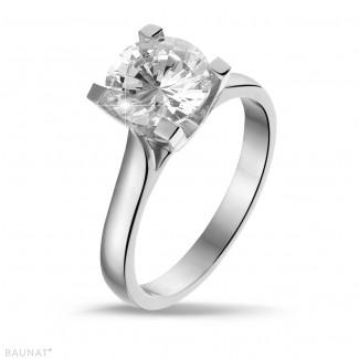 - 2.00 carat bague solitaire diamant en or blanc de qualité exceptionnelle (D-IF-EX)