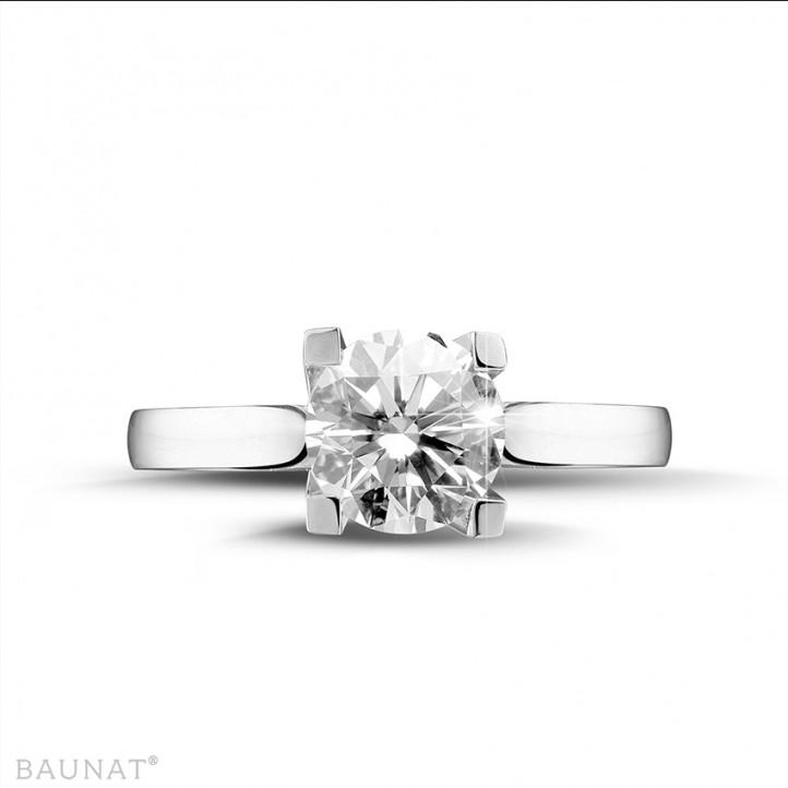 2.00 carat bague solitaire diamant en or blanc de qualité exceptionnelle (D-IF-EX)