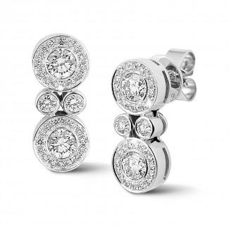 Boucles d'oreilles - 1.00 carat boucles d'oreilles en or blanc et diamants