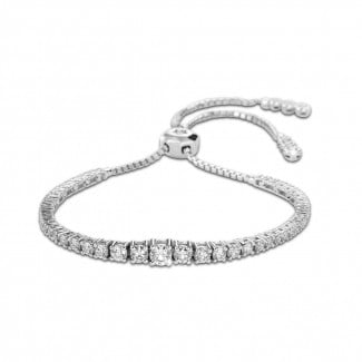 Bracelets - 1.50 carat bracelet dégradé en or blanc et diamants