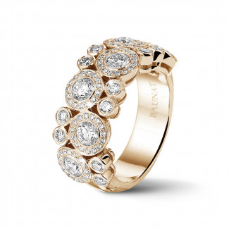 - 1.80 carat bague en or rouge et diamants