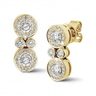Boucles d'oreilles - 1.00 carat boucles d'oreilles en or jaune et diamants