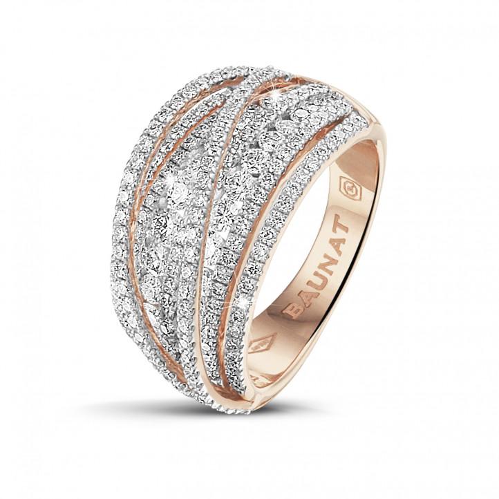 1.50 carat bague en or rouge avec diamants ronds