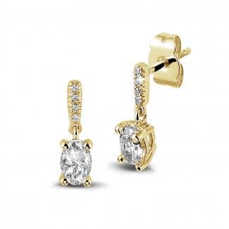 Boucles d'oreilles - 0.94 carat boucles d'oreilles en or jaune et diamants ovales