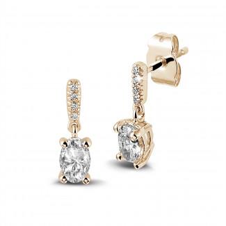 Boucles d'oreilles - 0.94 carat boucles d'oreilles en or rouge et diamants ovales