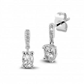 Boucles d'oreilles - 0.94 carat boucles d'oreilles en platine et diamants ovales