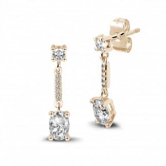 Boucles d'oreilles - 1.04 carat boucles d'oreilles en or rouge et diamants ovales