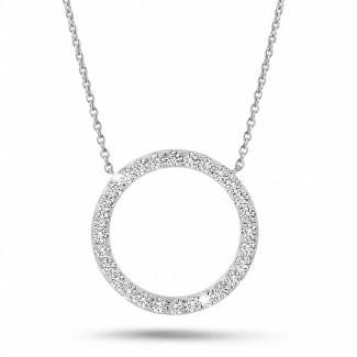 Colliers - 0.54 carat collier éternité en or blanc et diamants