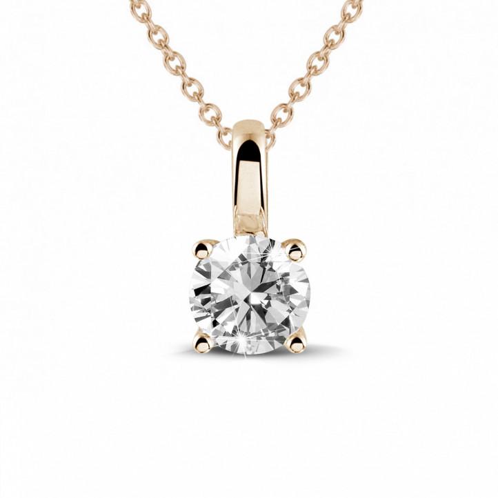 0.50 carat pendentif solitaire en or rouge avec diamant rond et quatre griffes