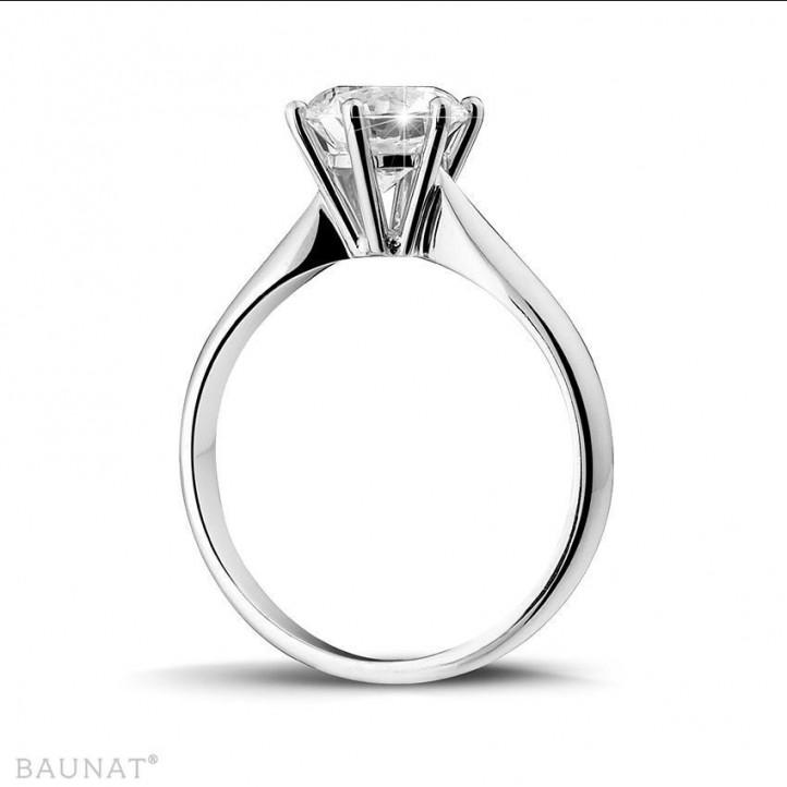 1.50 carats bague solitaire diamant en or blanc