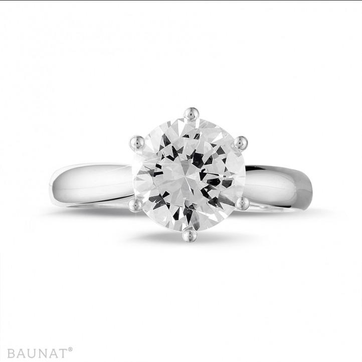 2.50 carats bague solitaire diamant en or blanc