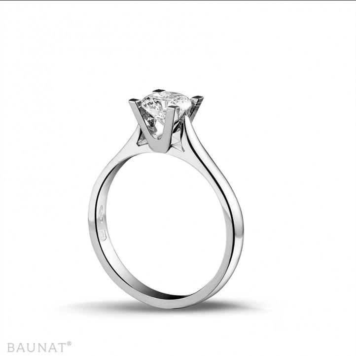 0.75 carats bague solitaire diamant en or blanc