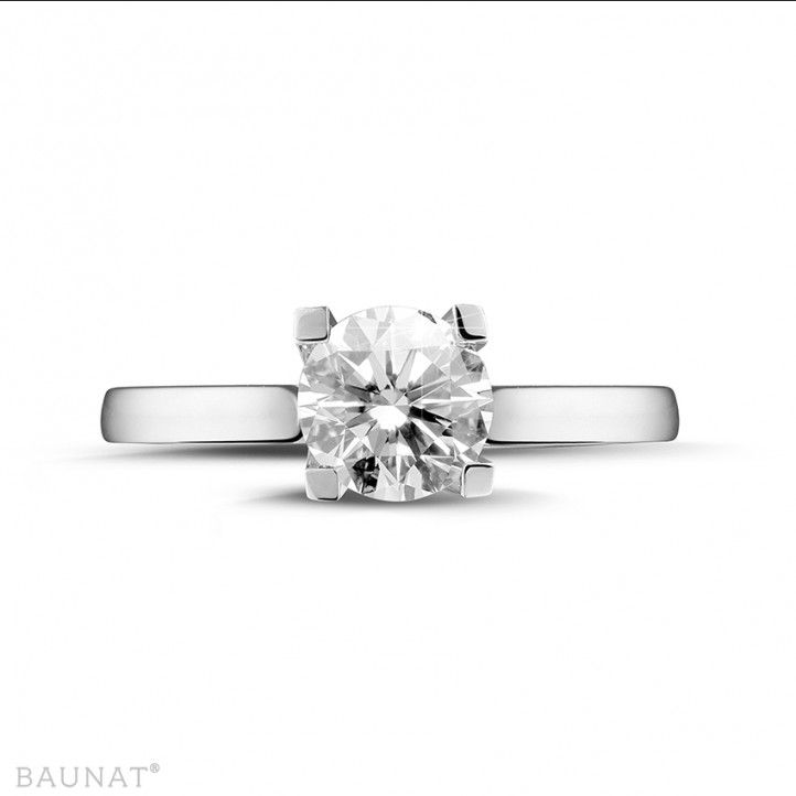 1.50 carat bague solitaire diamant en or blanc