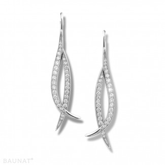 Or Blanc - 0.76 carat boucles d'oreilles design en or blanc et diamants